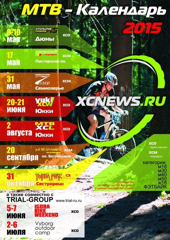 Календарь гонок кросс-кантри и веломарафонов от XCnews на 2015 год